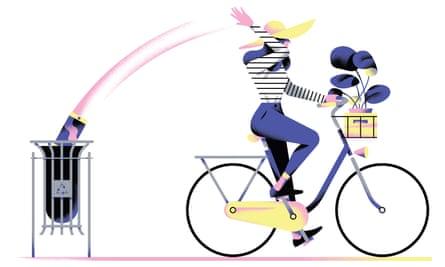 Illustration of woman on bike throwing news into bin