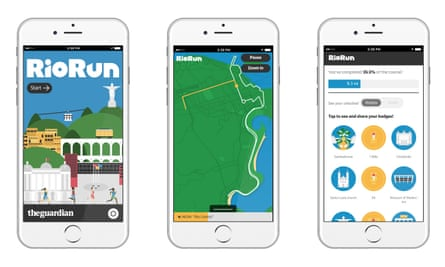 Three screens showing RioGO app: welcome screen, running screen and badges screen