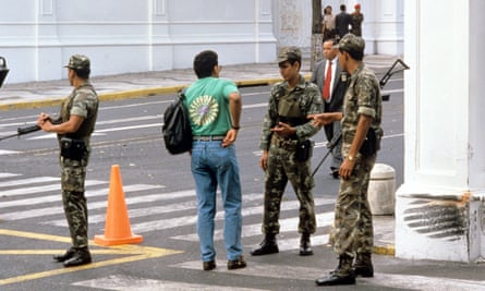 Soldiers patrolling the streets in Caracas following the 1992 coup attempt.
