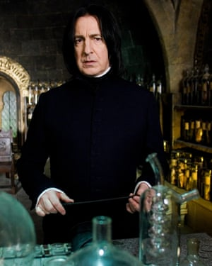 Notice the claw-like hands … Alan Rickman as Severus Snape in the film of Harry Potter and the Order of the Phoenix.