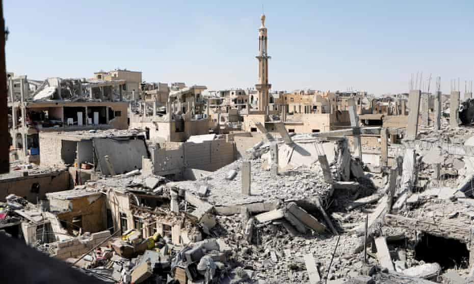 Bombed-out buildings in the old city of Raqqa, Syria, after clashes with Islamic State