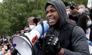 Actor John Boyega addresses the crowd during a Black Lives Matter protest in Hyde Park, London on 3 June.