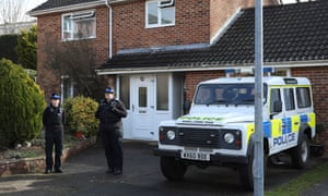 Police outside the Salisbury home of Sergei Skripal shortly after he was poisoned.