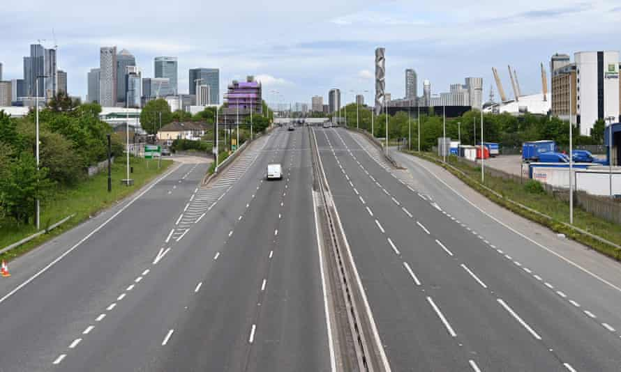 The near-deserted approach to Blackwall Tunnel in London on 3 May.