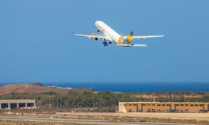 A Thomas Cook Scandinavia Airbus A330 plane taking off from Las Palmas in the Canary Islands, Spain.