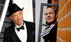 A composite image of JK Simmons and Michael Keaton.
