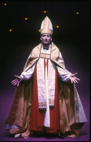 Murder in the Cathedral, 1993. Directed by Steven Pimlott, designed by Ashley Martin-Davis. The photograph shows Thomas Becket (Michael Feast).