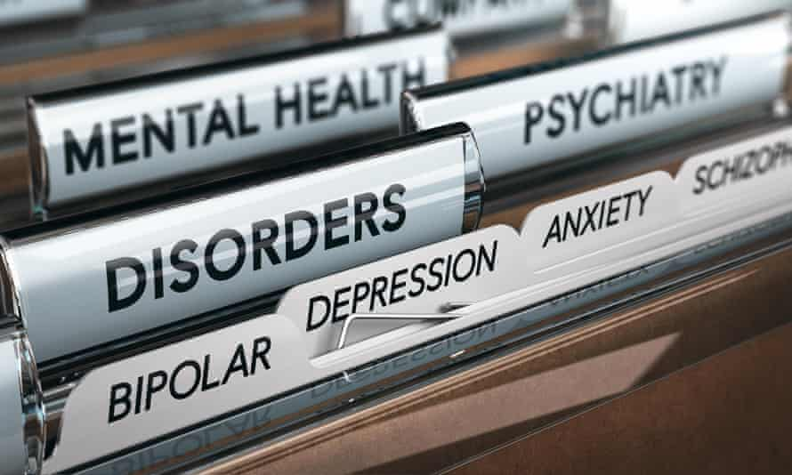 Mental health concept. File with a list of psychiatric disorders. 3D illustrationKHXEE9 Mental health concept. File with a list of psychiatric disorders. 3D illustration