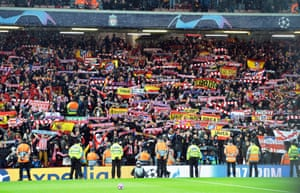 Atlético Madrid fans at Anfield on 11 March