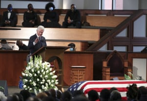 Former president Bill Clinton speaks during the funeral service for the late John Lewis