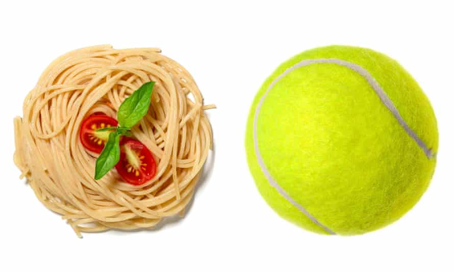 Right-sizing: a 150g recommended portion of pasta is equivalent in size to a tennis ball.