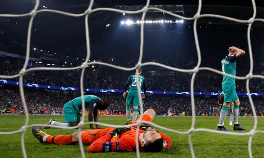 Manchester City v Tottenham Hotspur - Etihad Stadium, Manchester, April 2019. Tottenham's Hugo Lloris and team mates react after conceding a goal scored by Manchester City that is later disallowed by VAR