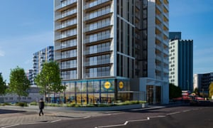 Artist's impressions of the Alperton Lidl store and housing.