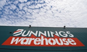 A Bunnings warehouse store with a blue sky backdrop