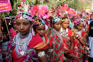 Bhopal, India Indian tribal artists during a rally for International Women's Day