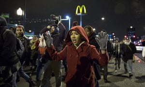 Protesters march in Chicago, Illinois