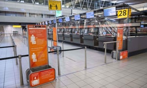 EasyJet check-in counters at Schiphol airport on 30 March 2020: 'Airline bailouts could also require a plan for carbon reduction.'