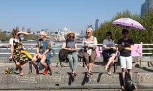 Extinction Rebellion potesters gather on Waterloo Bridge on April 21.