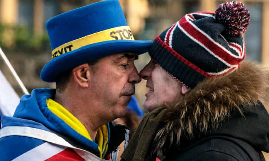 Face off … tensions rise between a remain and a pro-Brexit protester outside the Houses of Parliament in Westminster.