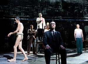Cesar Sarachu, Tim McMullan, Clive Mendus and Paul Rhys in The Master and Margarita by Complicite/Simon McBurney.