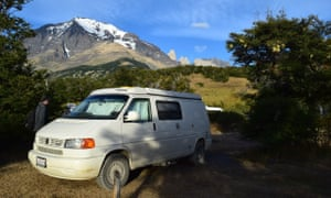 The writer's campervan at Refugio y Camping Las Torres in the Torres del Paine national park, Chile