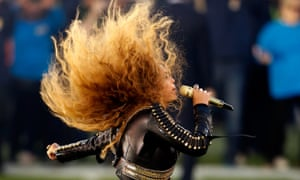 Beyoncé … Performing at the Super Bowl halftime show.