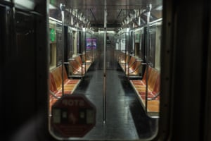 An empty subway car in New York City.