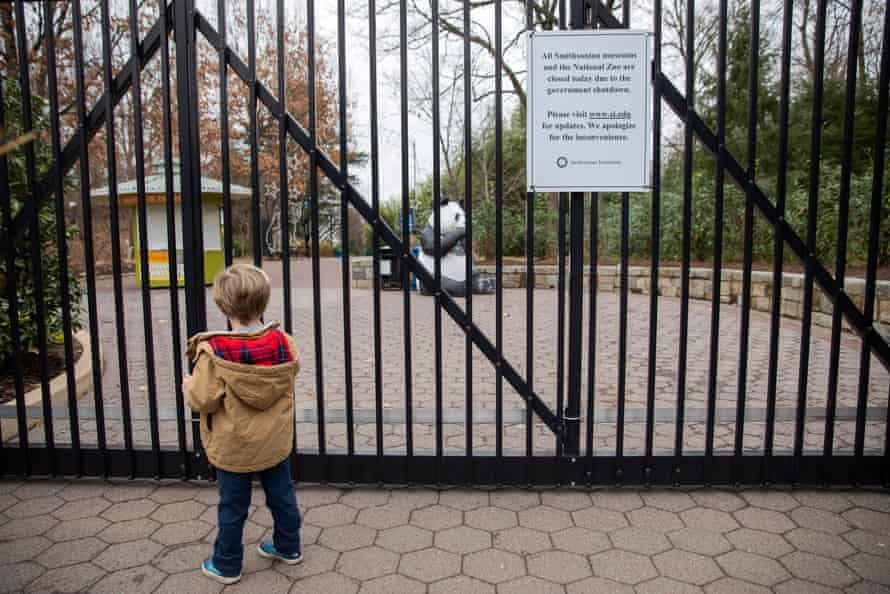 Closed gates to the Smithsonian National Zoo in Washington DC.
