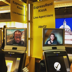 Hertz live agents on screen at Dallas Fort Worth airport