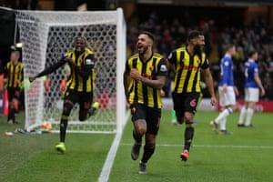 Andre Gray celebrates scoring Watford's winner against Everton.