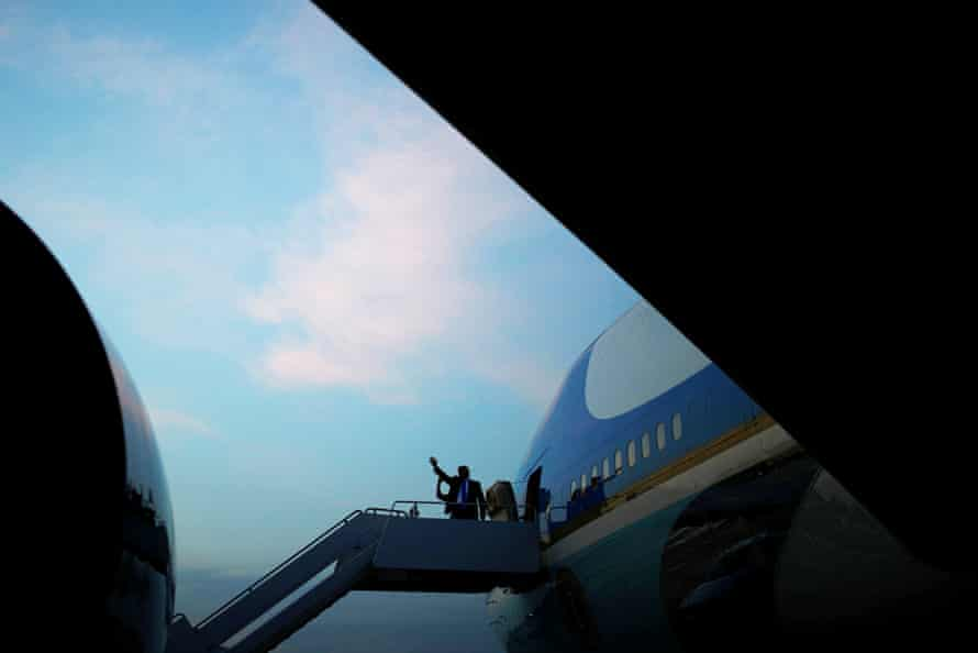 Donald and Melania Trump board Air Force One at Joint Base Andrews in Maryland bound for their state visit to the UK