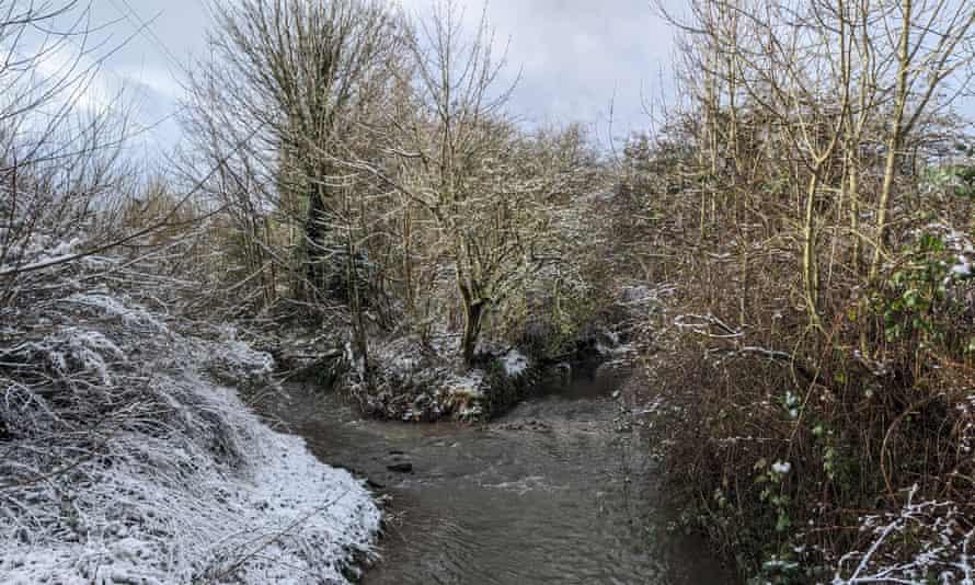 Bourn Brook, Birmingham, in the snow