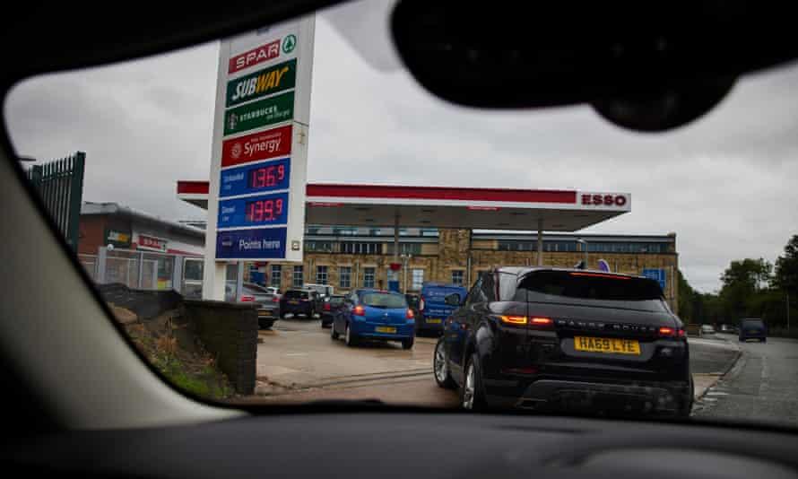 Queue at petrol station