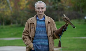 David Bradley, who played Billy Casper in the 1969 film Kes, with a kestrel in a park in Barnsley, South Yorkshire.