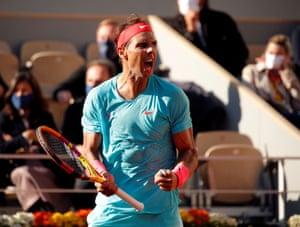 Rafael Nadal celebrates during the first set.