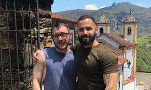 'My dad said love will come when I least expect it': Robert Wilkes and Felipe Correa in Brazil.