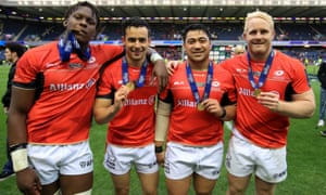 Titi Lamositele (second from right), a highly regarded American prop, celebrates Saracens' European Champions Cup victory last weekend.