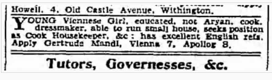 Ad for Gertrude Mandl in 1938