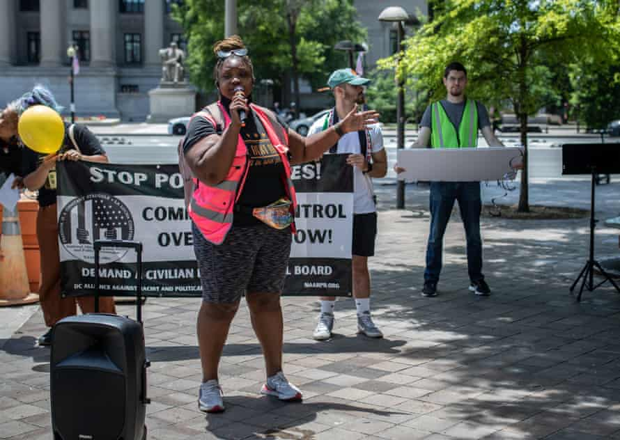 Zillah Wesley, co-chair of the Washington DC branch of the Poor People's Campaign, takes the mic at a protest she organized to celebrate the 19th birthday of Tamir Rice, 26 June 2021. Rice was killed by police on 22 November 2014.