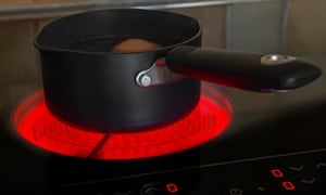 Saucepan on a glowing electric ceramic cooking hob