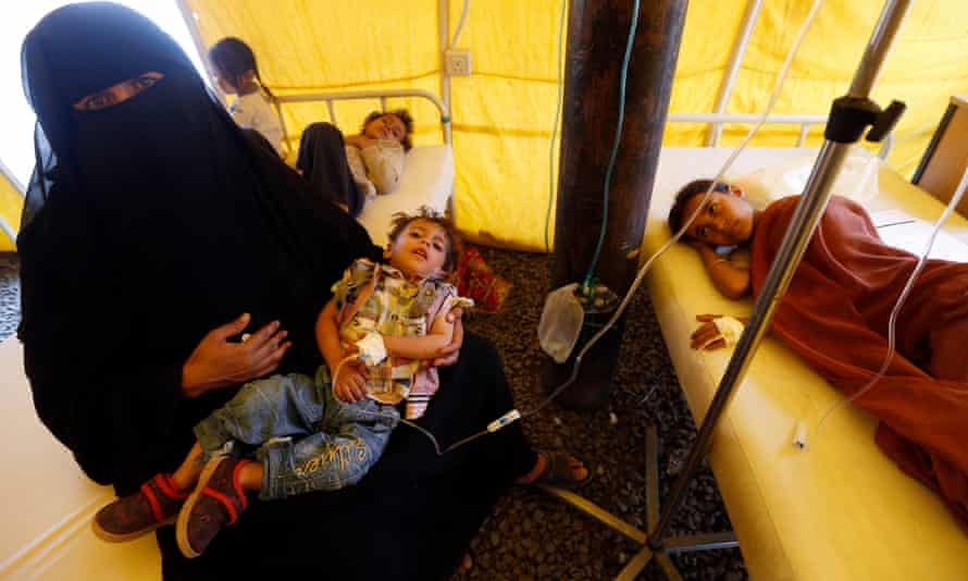 Yemeni children suspected of being infected with cholera receive treatment at a makeshift hospital in Sana'a.