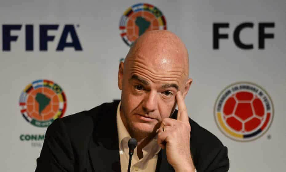 FIFA President Gianni Infantino attends a press conference in Bogota.