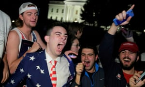 Supporters of Donald Trump celebrate in front of the White House. Photograph: Joshua Roberts/Reuters