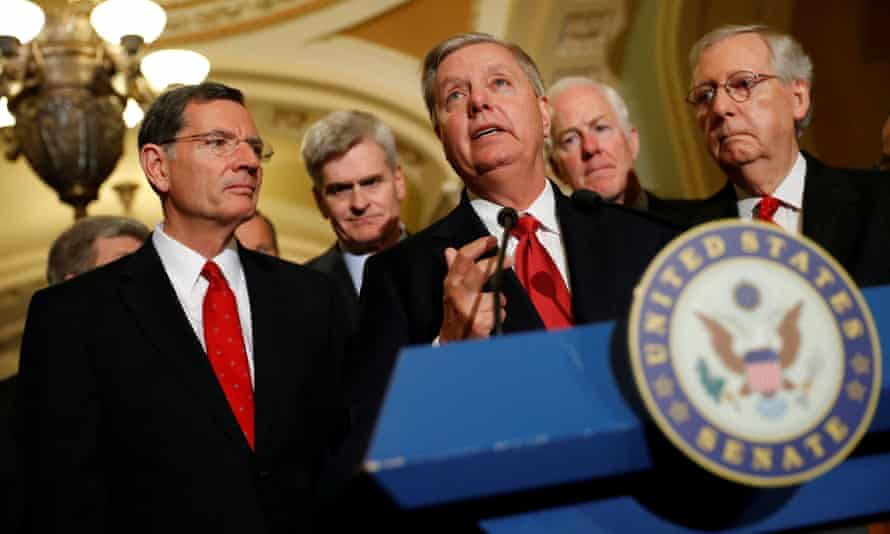Lindsey Graham with John Barrasso, Bill Cassidy John Cornyn and Mitch McConnell.