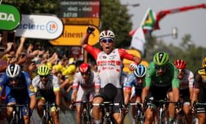 Lotto Soudal rider Caleb Ewan wins the stage.