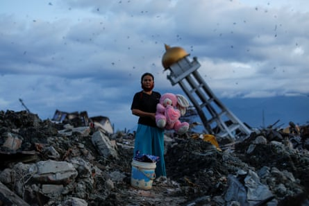 Woman in the aftermath of an earthquake, Indonesia