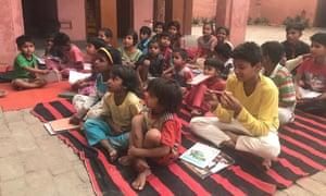 A group of children at Bhim Pathshala in Sona village near Saharanpur, Uttar Pradesh.
