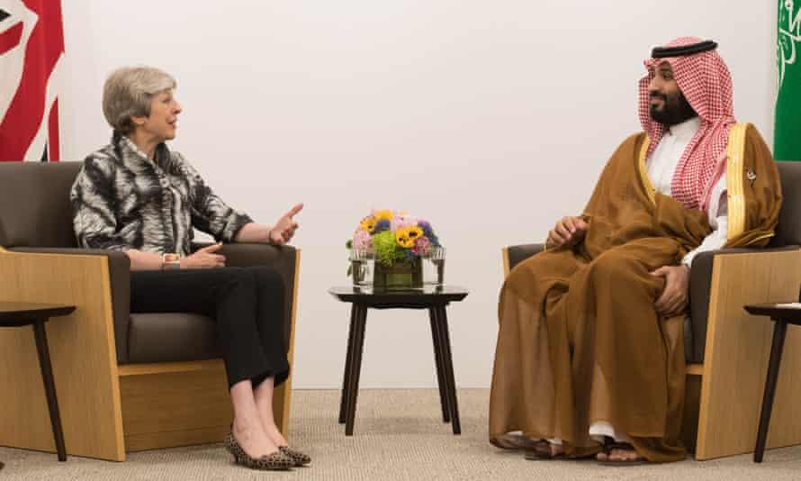 Theresa May meets Crown Prince Mohammed bin Salman during the G20 summit in Osaka.