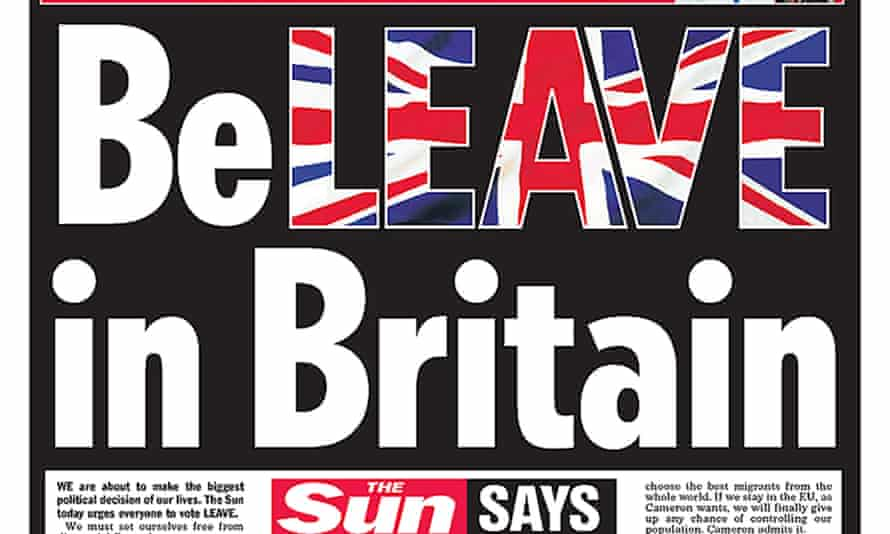 The Sun's front page on 14 June 2016 showing the 'BeLEAVE in Britain' slogan