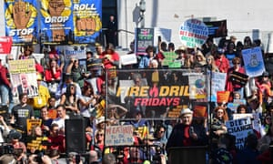 Writer and producer Norman Lear speaks during the Fonda Fire Drill Friday's fossil fuel protest outside City Hall in downtown Los Angeles on 7 February 2020.